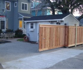 Wood privacy fence & automatic gate