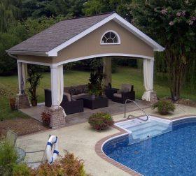 Outside pool lounge area