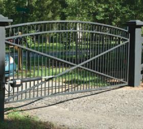 Arched aluminum driveway gate
