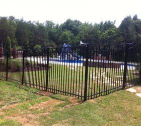 Tall aluminum pool fence