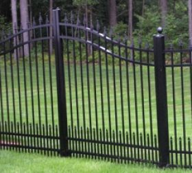 Arched aluminum double gate with puppy picket