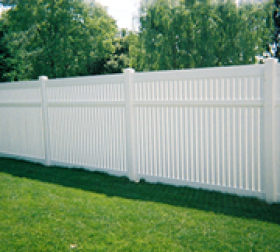 Tall vinyl white privacy fence